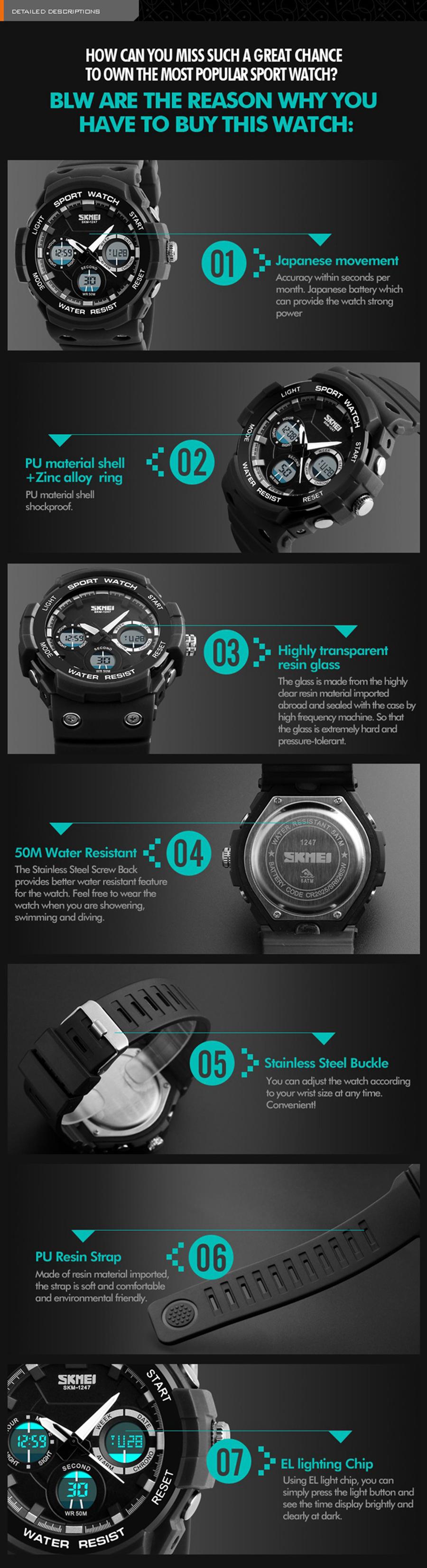 SKMEI 1247 Luminous Chronograph Dual Display Digital Watch