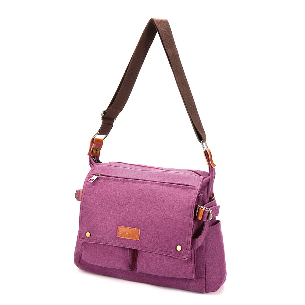 Brenice Women Leisure Large Canvas Muti-Pocket Carrying Light Messenger Bag Crossbody Bag