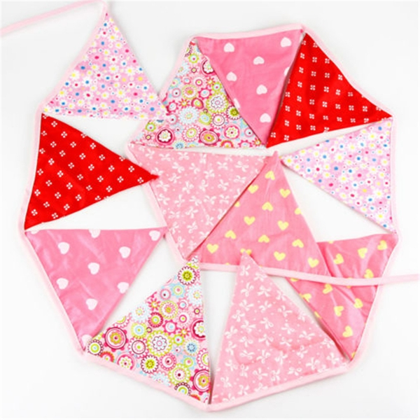 12 Flags Vintage Pink Cotton Wedding Party Banner Bunting Garland Decoration