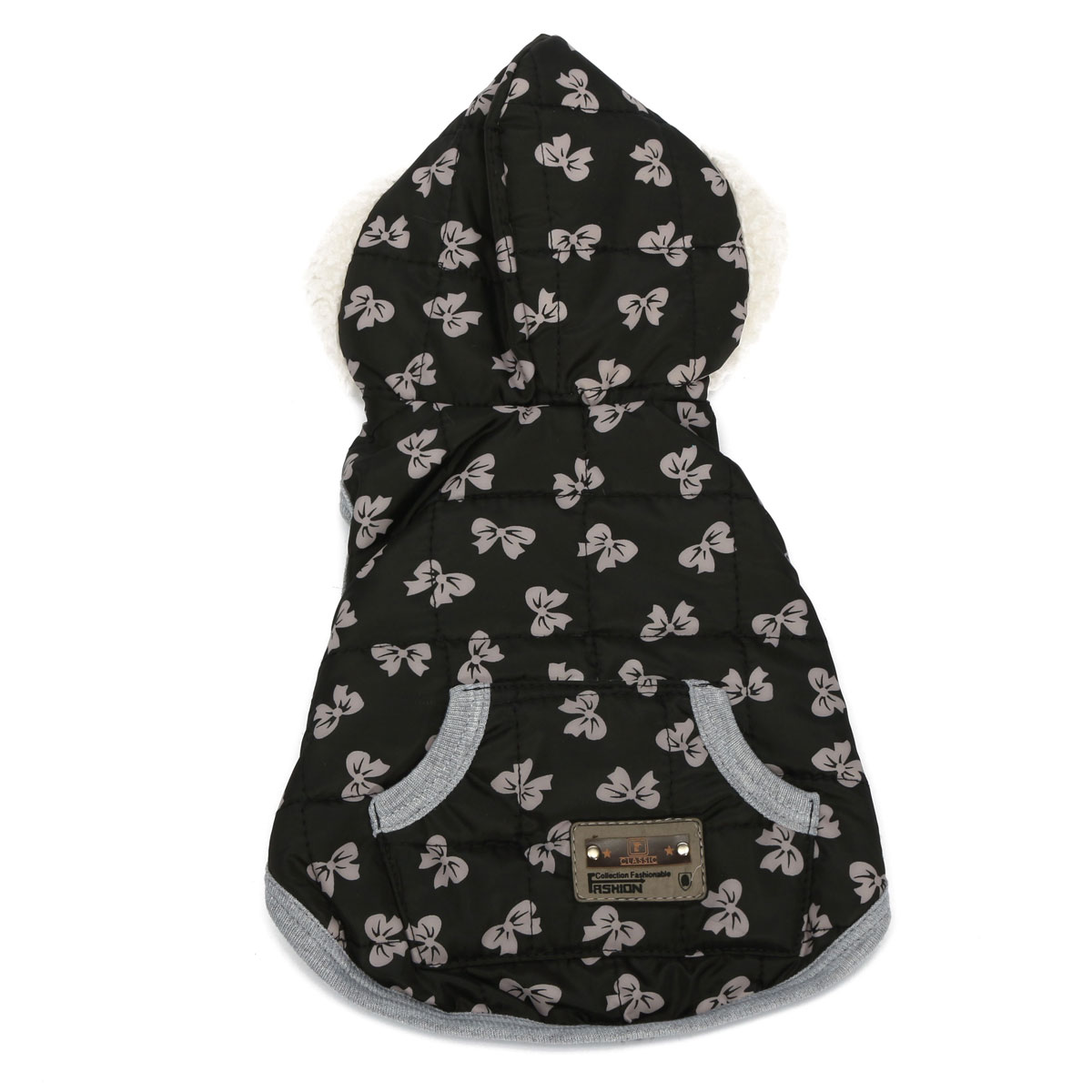 Winter Black Cotton Cozy Pet Dog Puppy Warm Jacket Coat Vest Star Dot Bowknot Clothes with Cap