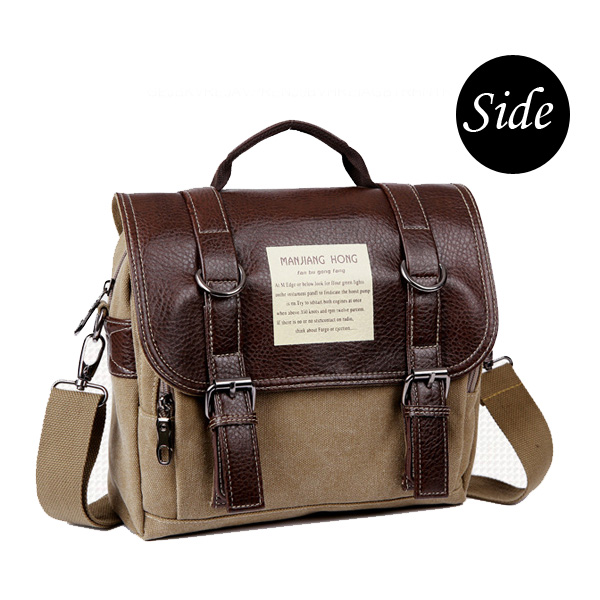 Men Retro Casual Canvas Messenger Crossbody Bag Multifunctional Backpack