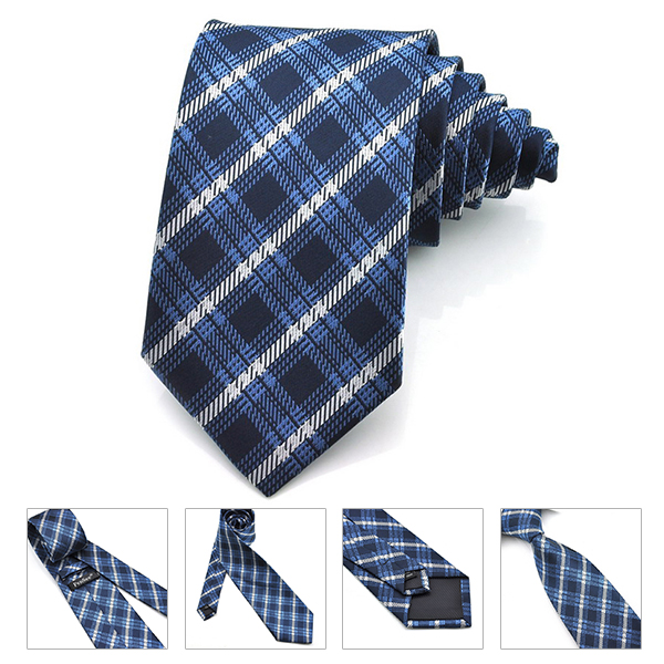 PenSee Mens Bow Tie Polyester Silk Coarse Grid Formal Necktie-Colors Accessory