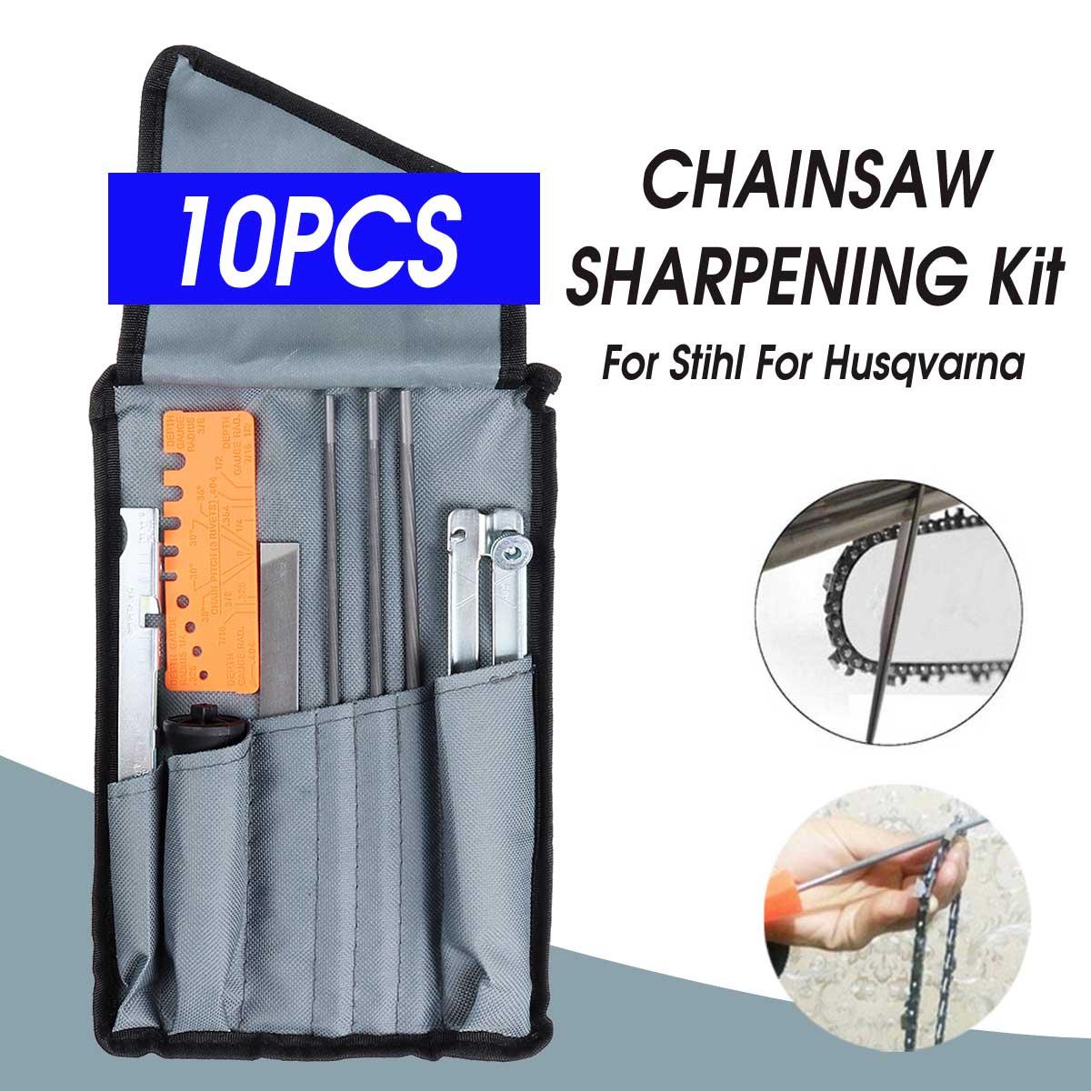 10x Chain Saw Sharpening File Filing Kit Files Tool Chain Sharpener For Husqvarna 33