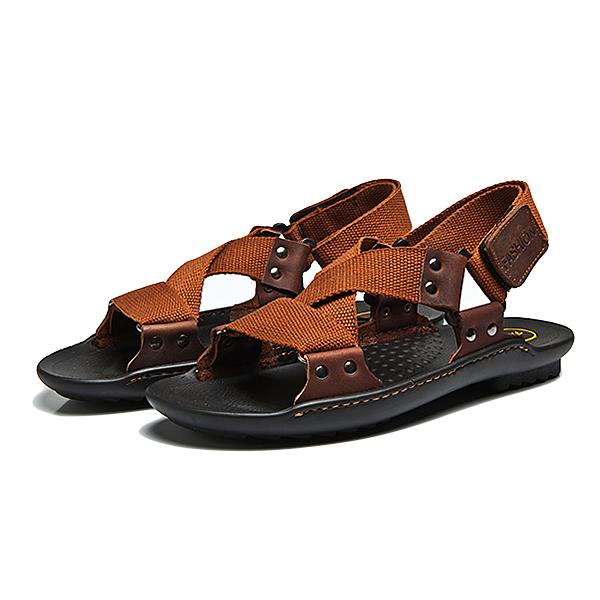 Men Comfy Summer Shoes Breathable Cloth Hook Loop Sandals