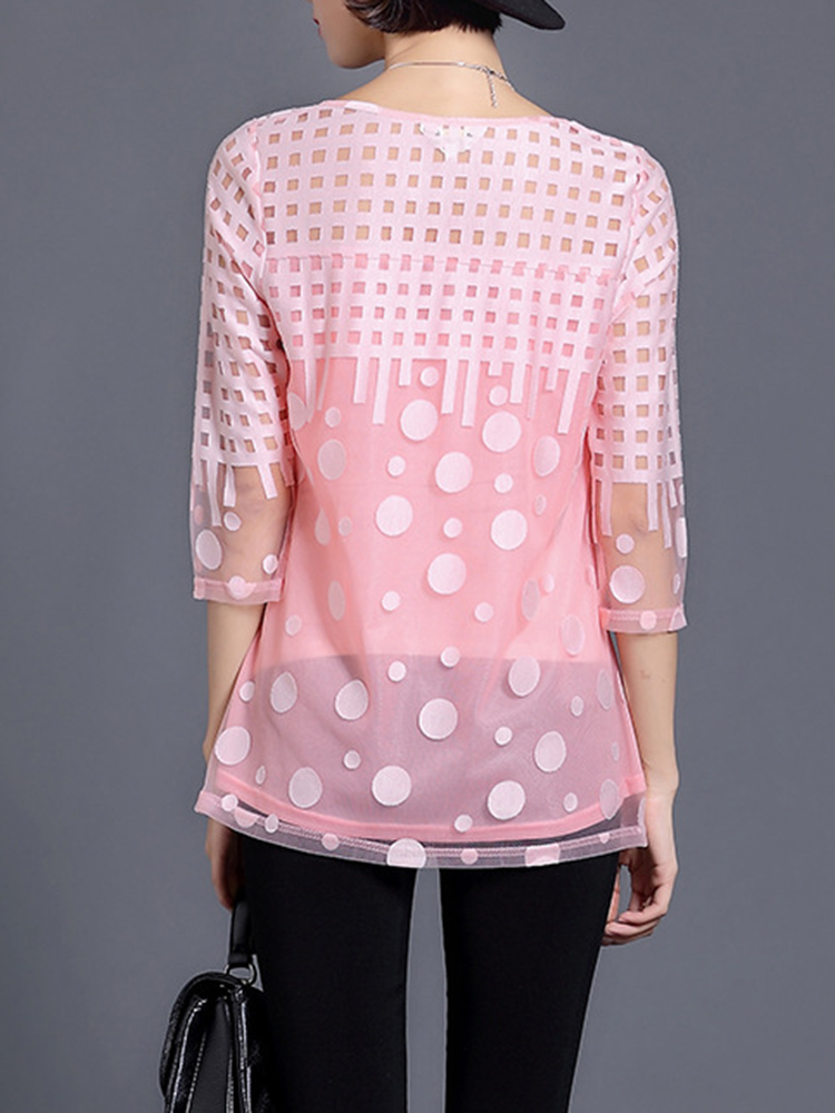 Elegant Women Hollow Printed Dots Mesh Layer Party Blouse