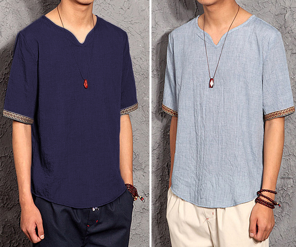 Men's Linen Solid Color V-neck Short Sleeve Tops