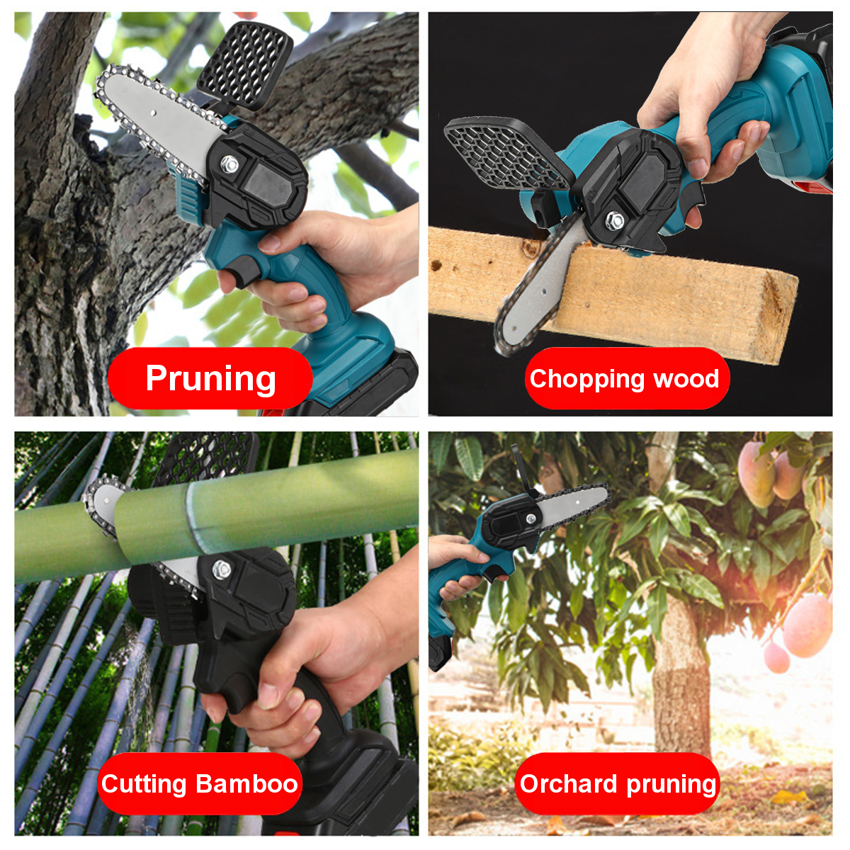 550W 24V 4'' Mini Cordless One-Hand Electric Chain Saw Woodworking Wood Cutter W/ 1pc Battery