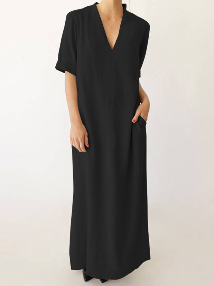 Women V-neck Solid Color Side Split Maxi Dress
