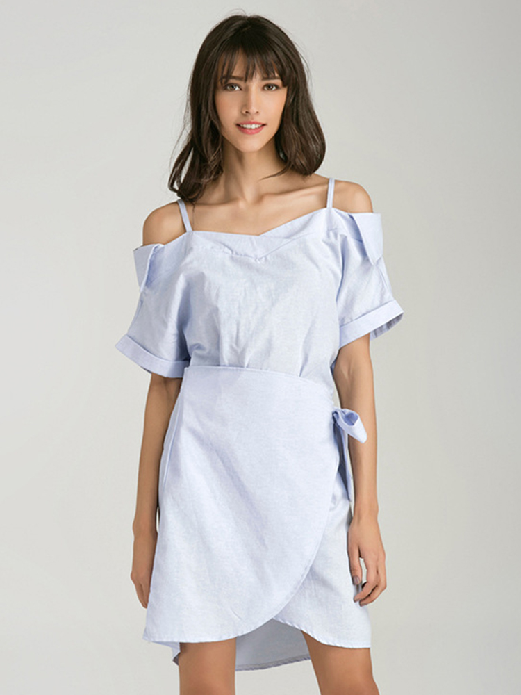 Blue Women Off Shoulder Short Sleeve Mini Dresses
