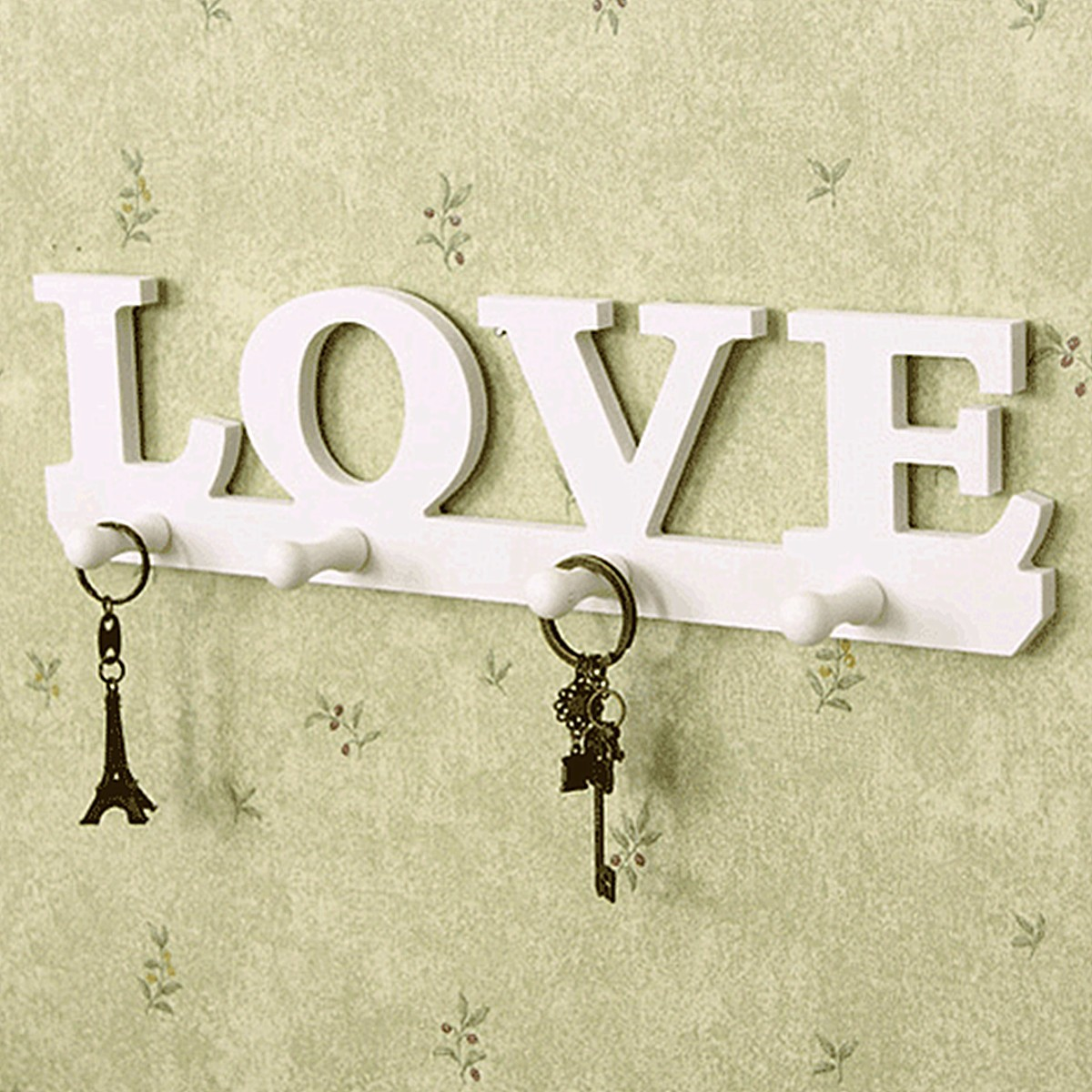Creative Vintage White LOVE Robe Hook Clothes Holder Sundries Hanger Wall Decor