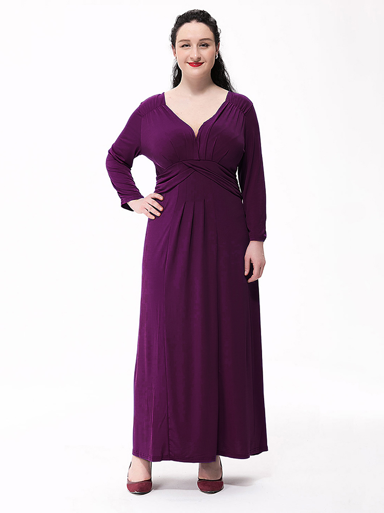 Elegant Women Solid V Neck Pleated Grown Party Maxi Dress