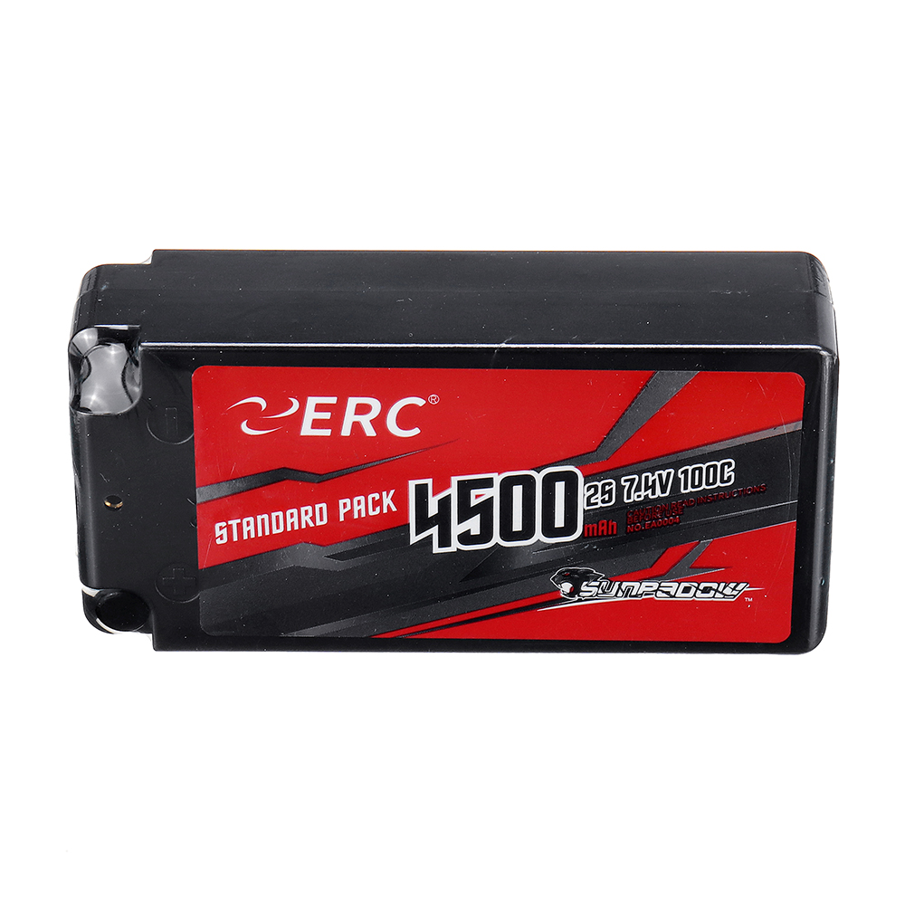 SUNPADOW ERC 7.4V 4500mAh 100C 2S Lipo Battery With 4mm Jack Socket for RC Car