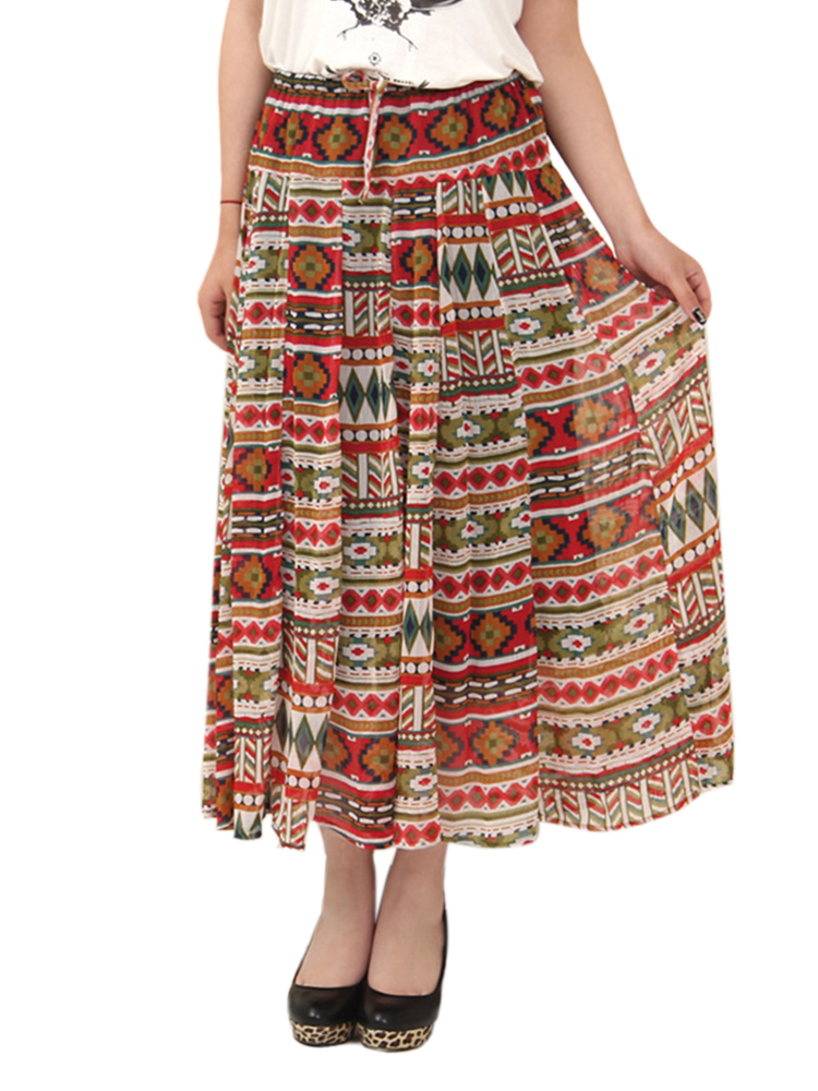 Women Bohemian Printed Bow High Waist Pleated Chiffon Skirt