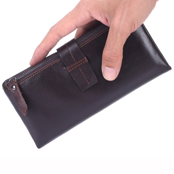 Men Genuine Leather Long Wallet Vintage Card Holder Wallet Coolest Wallet