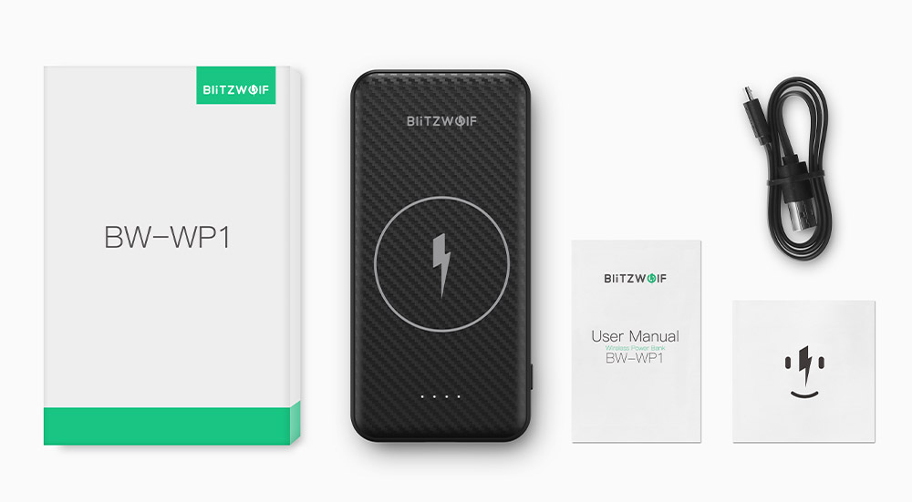 BlitzWolf® BW-WP1 10000mAh Dual USB Lithium Polymer Battery Power Bank With Wireless Charger
