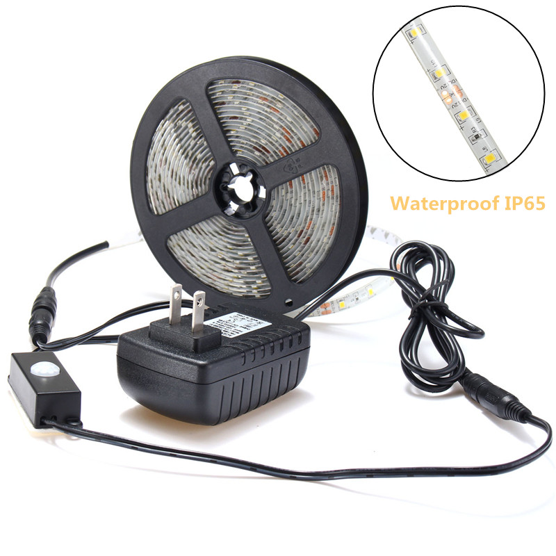 5M 3528 300 LED Warm White PIR Motion Sensor Wardrobe Waterproof Strip Light Kit DC12V