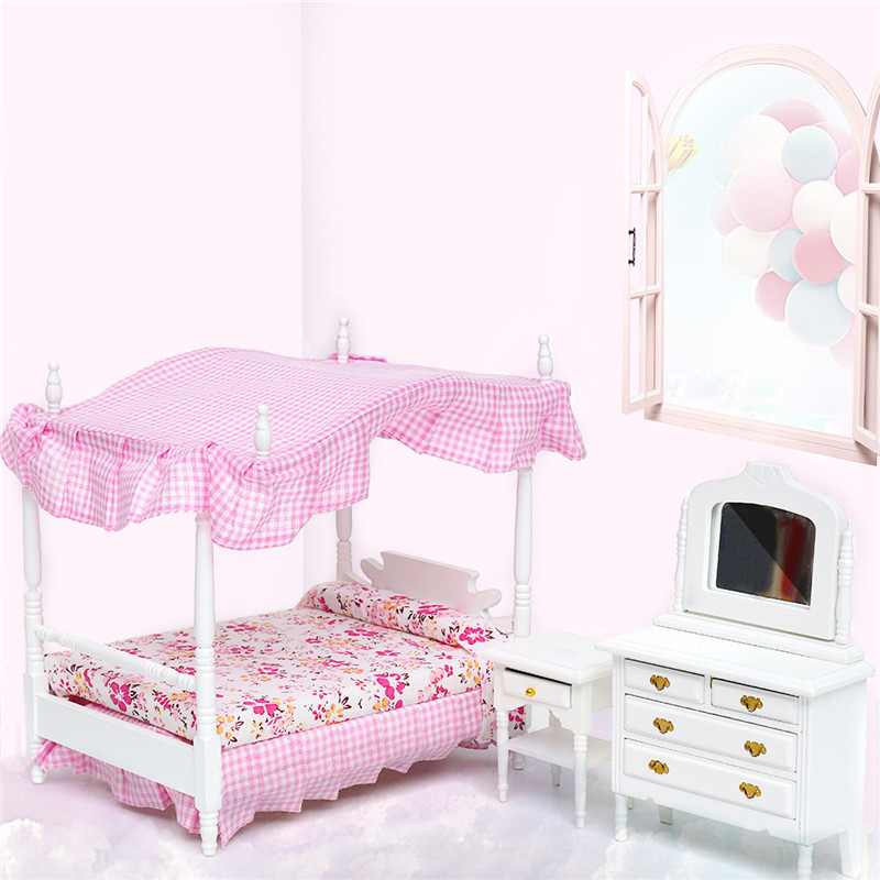 Doll House Miniature 1*Bed+1*Dressing Table+1*Nightstand Handmake Dollhouse Furniture
