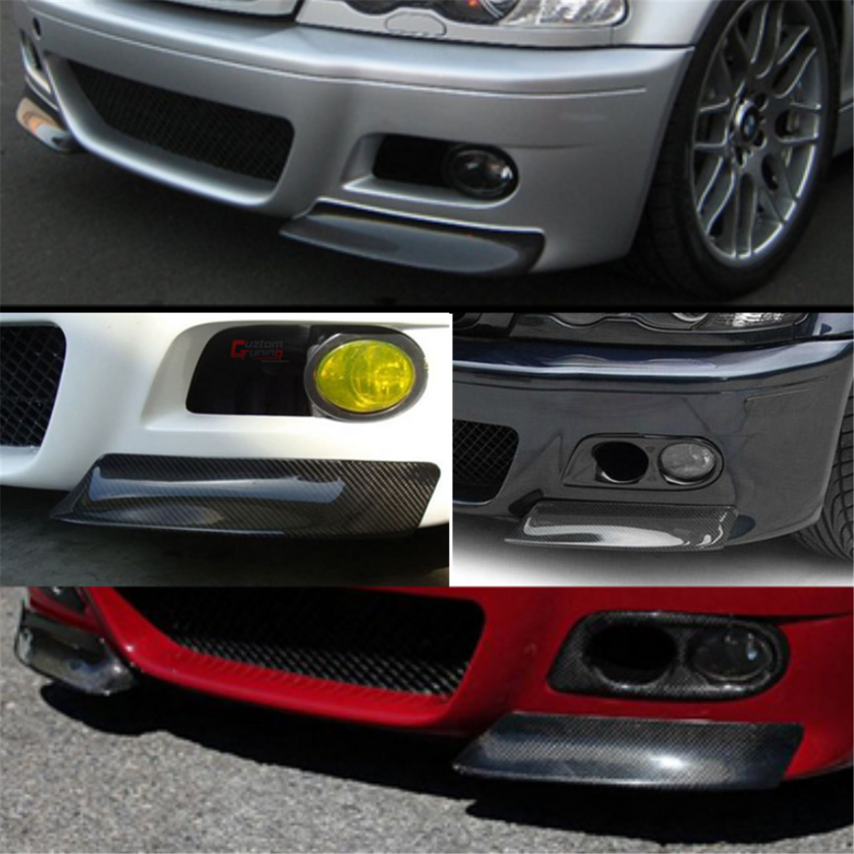 Racing Carbon Fiber Front HDMI Splitter Bumper Lip Spoiler Wing for Bmw E46 M3 99-06 2001