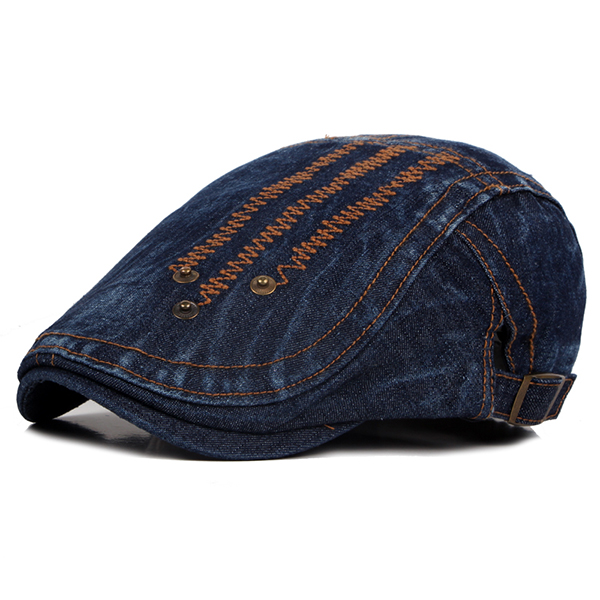 Mens Summer Denim Rivet Beret Caps Fashion Sunscreen Forward Hat Painter Caps