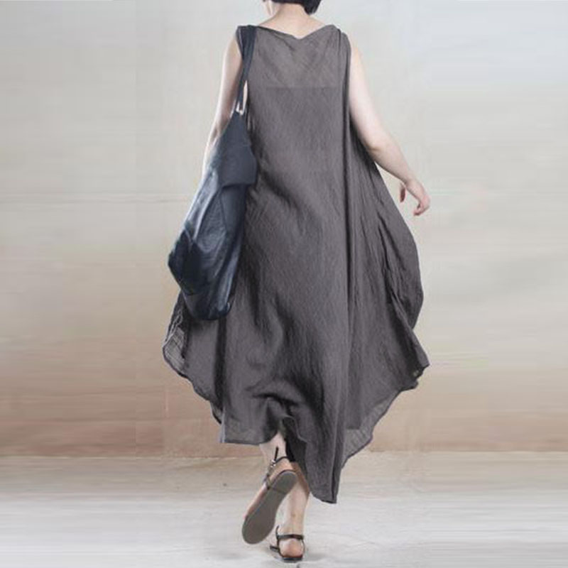 Sleeveless Irregular Hem Pocket Dress