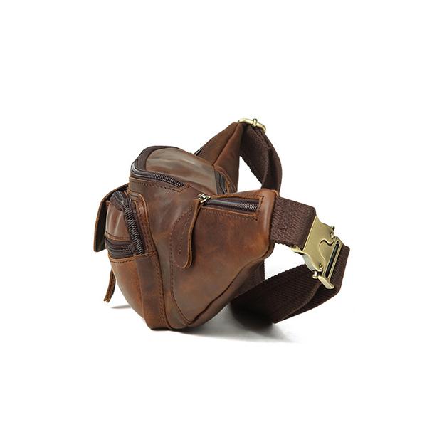 Epkhero Men Genuine Leather Vintage Crossbody Bag Waist Bag
