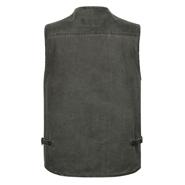 Mens Outdooors Fishing Solid Color Multi Pocket Photojournalist Cotton Vest Waistcoat Big Size M-5XL