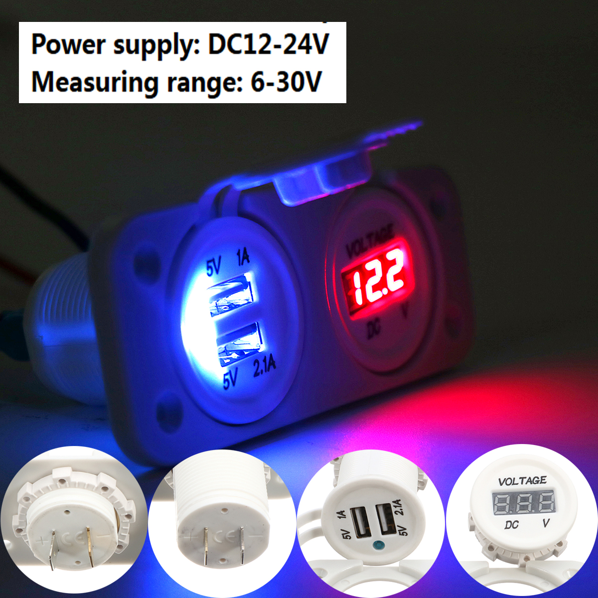 Waterproof Dual USB Socket Charger Voltage Gauge White For Motorcycle Boat Car Phone