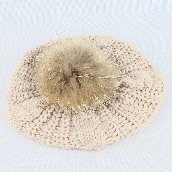 Women Warm Wool Crochet Knitted Beanie Hat Thick Bonnet Solid Hats With Fur Ball