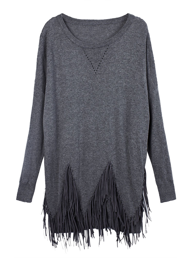 Women Patchwork Fringed Hem Pure Color Sweater