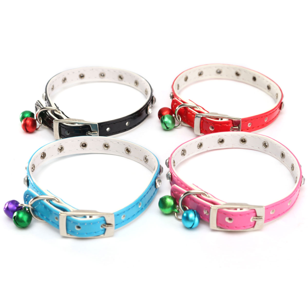 Bling PU Leather Collar Dog Bell Adjustable Collar Pet Puppy Buckle Cat Neck Strap Safety Accessories