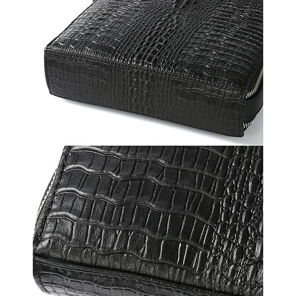 Men Genuine Leather Business Crocodile Stripe Shoulder Bag