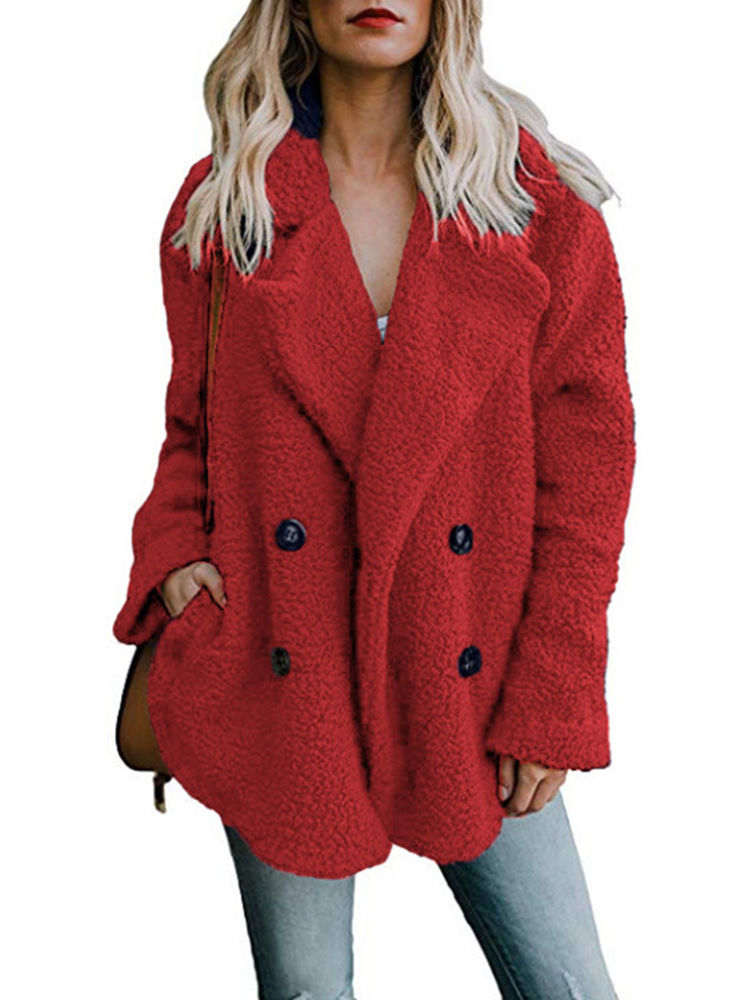 Fleece Lapel Pure Color Button Pockets Warm Jacket Coats