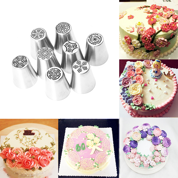 8pcs DIY Flower Pastry Cake Icing Piping Nozzles Decorating Tips Baking Tools Cup Cake Bakeware
