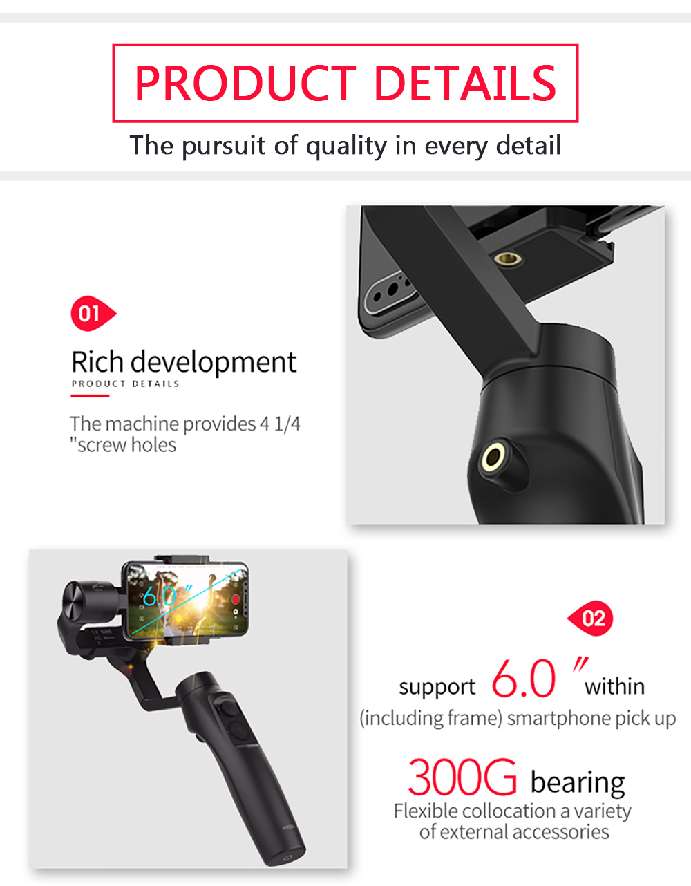 MOZAMini-Mi 3-Axis Handheld Gimbal Stabilizer for Smart Phone/Gopro/DJI Osmo with Tripod