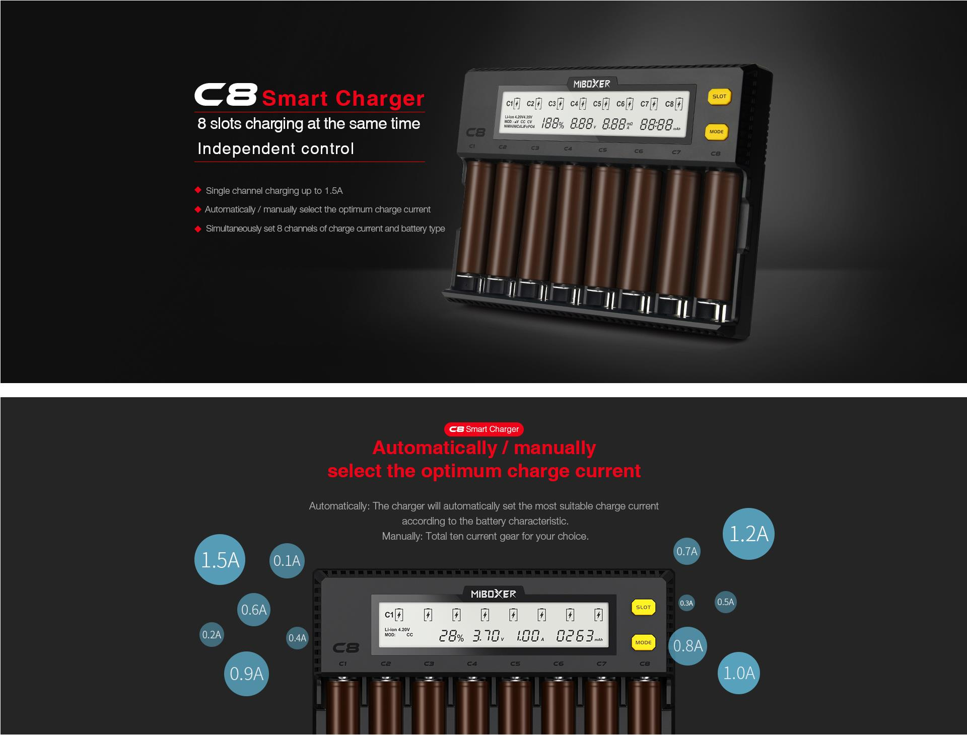 Miboxer C8 8 Slots Rapid Smart AA AAA 18650 Battery Charger Current Optional Overcharging Protection Adjustable Slots For Most Batteries
