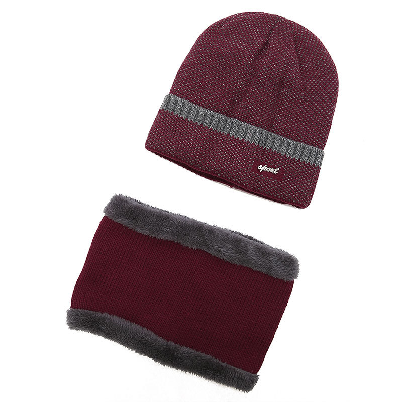 Unisex Winter Knitted Beanie And Neck Collar Scarves Set