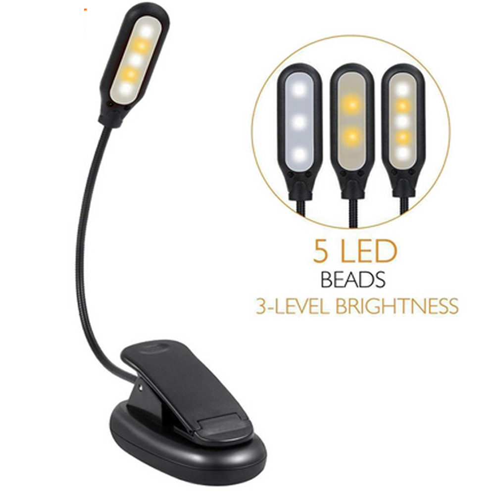 Battery Powered Flexible 1W 5 LED Clip Night Light 3 Brightness Modes Table Lamp for Reading Book
