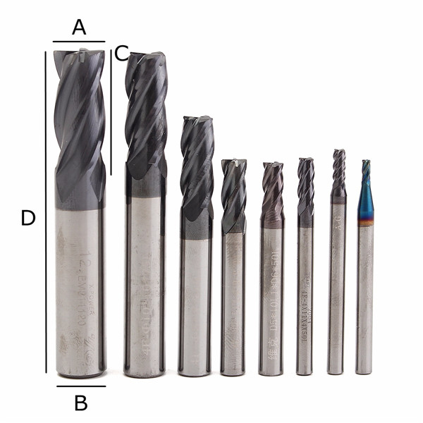 8pcs 2-12mm Carbide End Mill 4 Flutes Tungsten Steel Milling Cutter CNC Tools Set