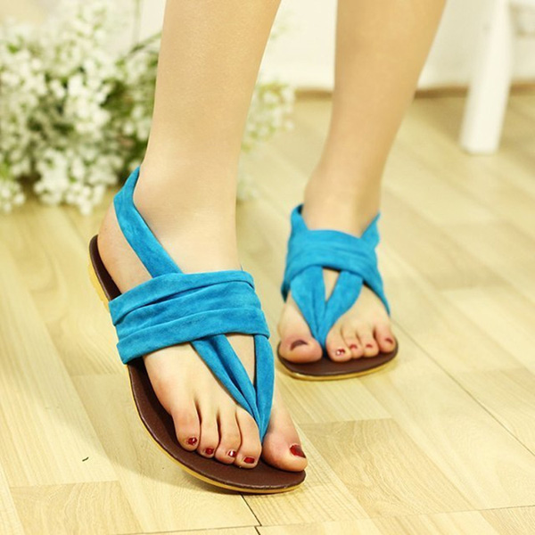 Women Bohemia Beach Strap Sandals T Strap Flat Slippers Flip Flop Shoes