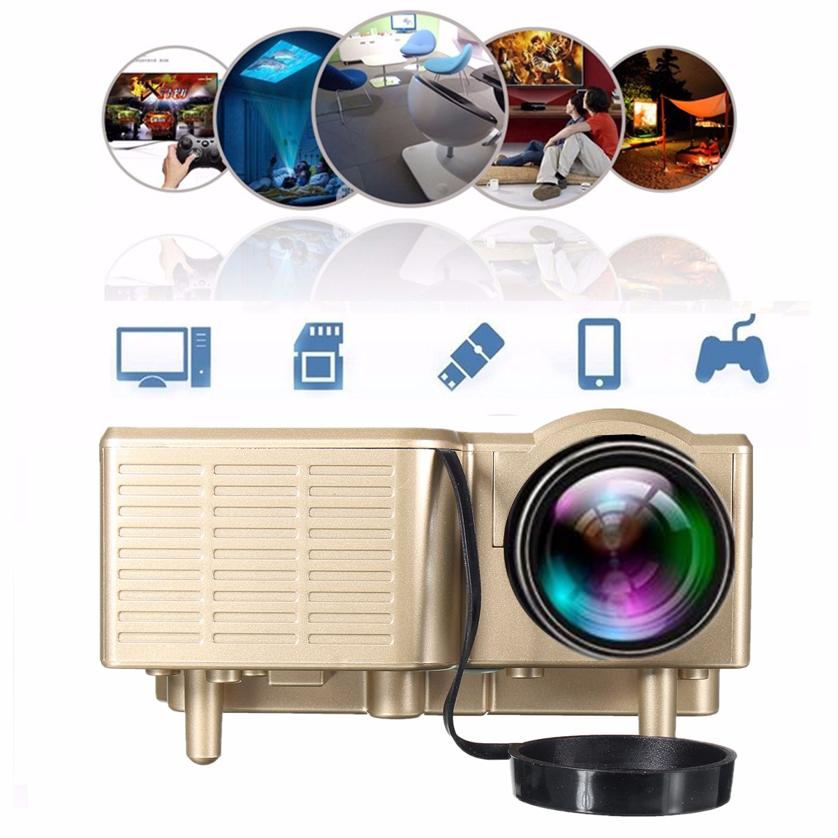 GM40 1080P HD Portable Video Home Theater Projector Support VGA/SD/USB/AV for Cellphone PC