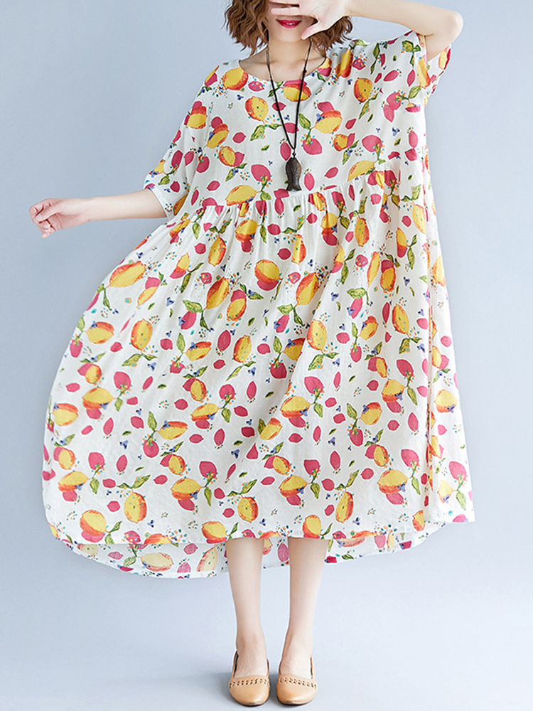 Loose Cotton Fruits Printed Half Sleeve Casual Dress