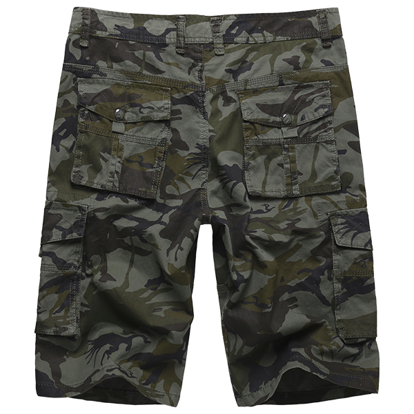 Mens Plus Size Summer Cotton Casual Outdooors Multi Pocket Military Camouflage Cargo Shorts