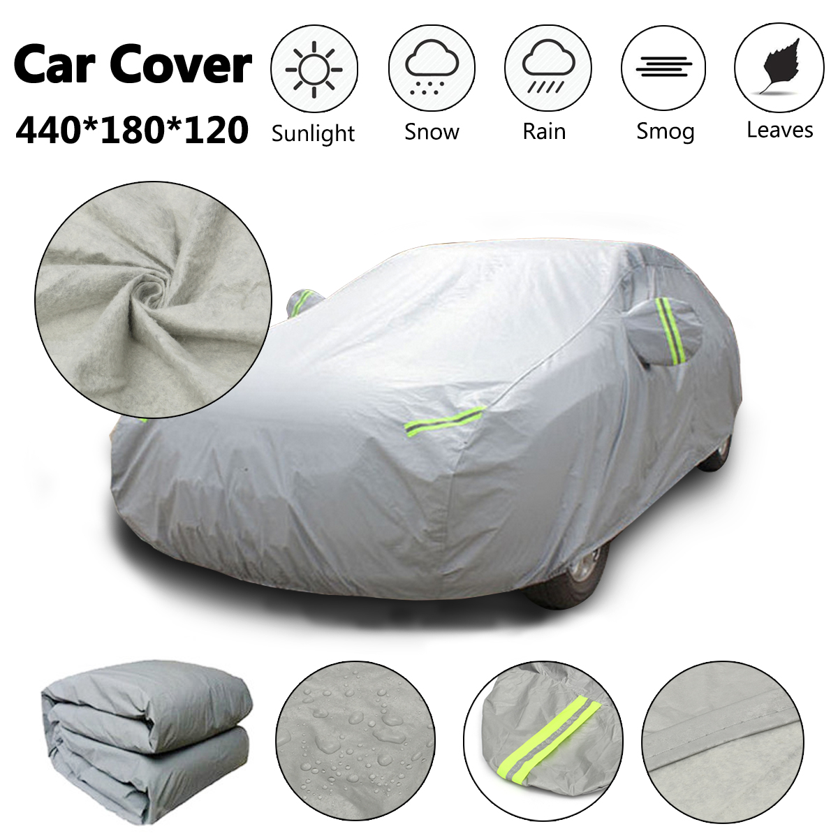 Universal M Full Car Cover Cotton Waterproof Breathable Rain Snow Protection