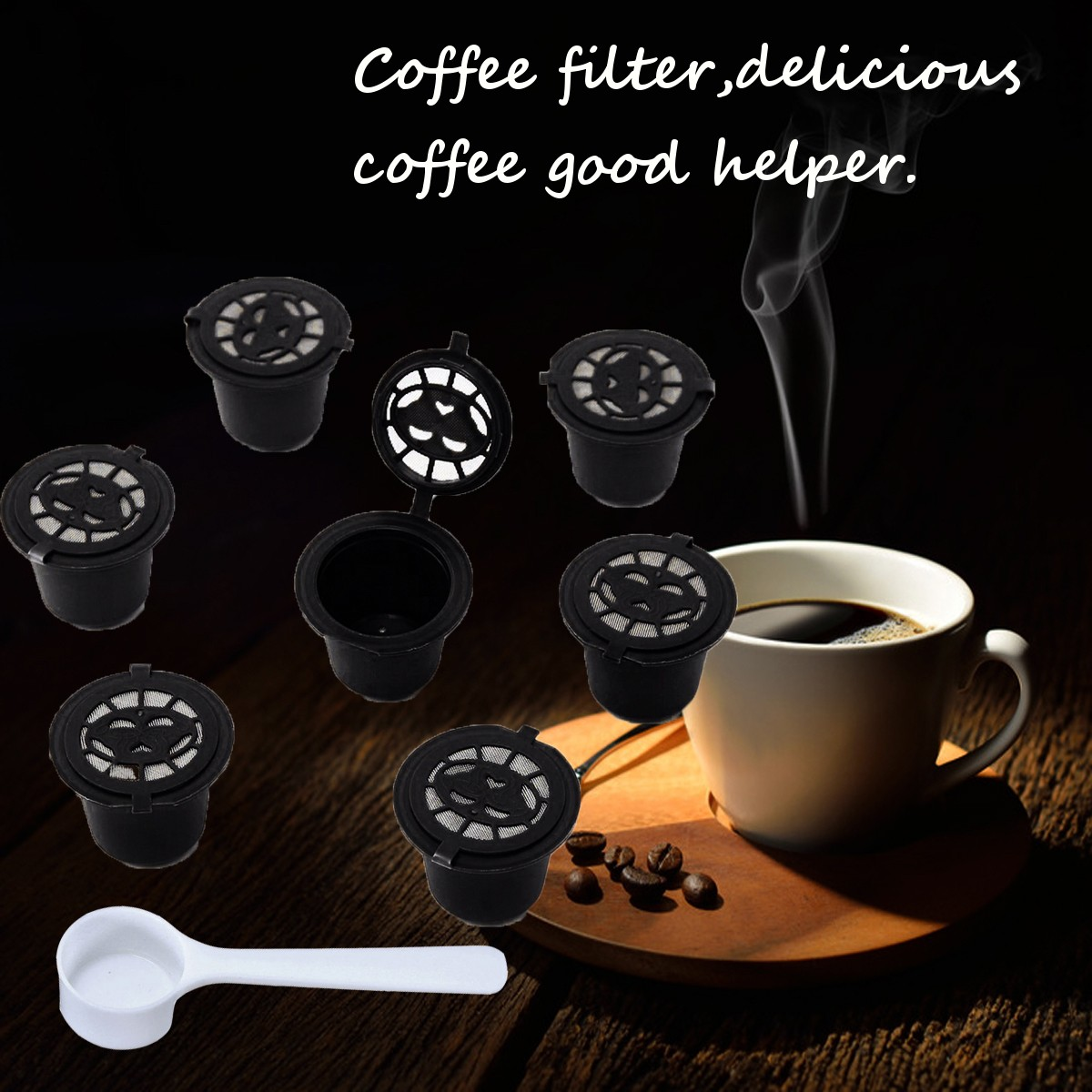 8Pcs Set Refillable Reusable Coffee Capsules Pod Reusable Refilling Filter for Nespresso Machine