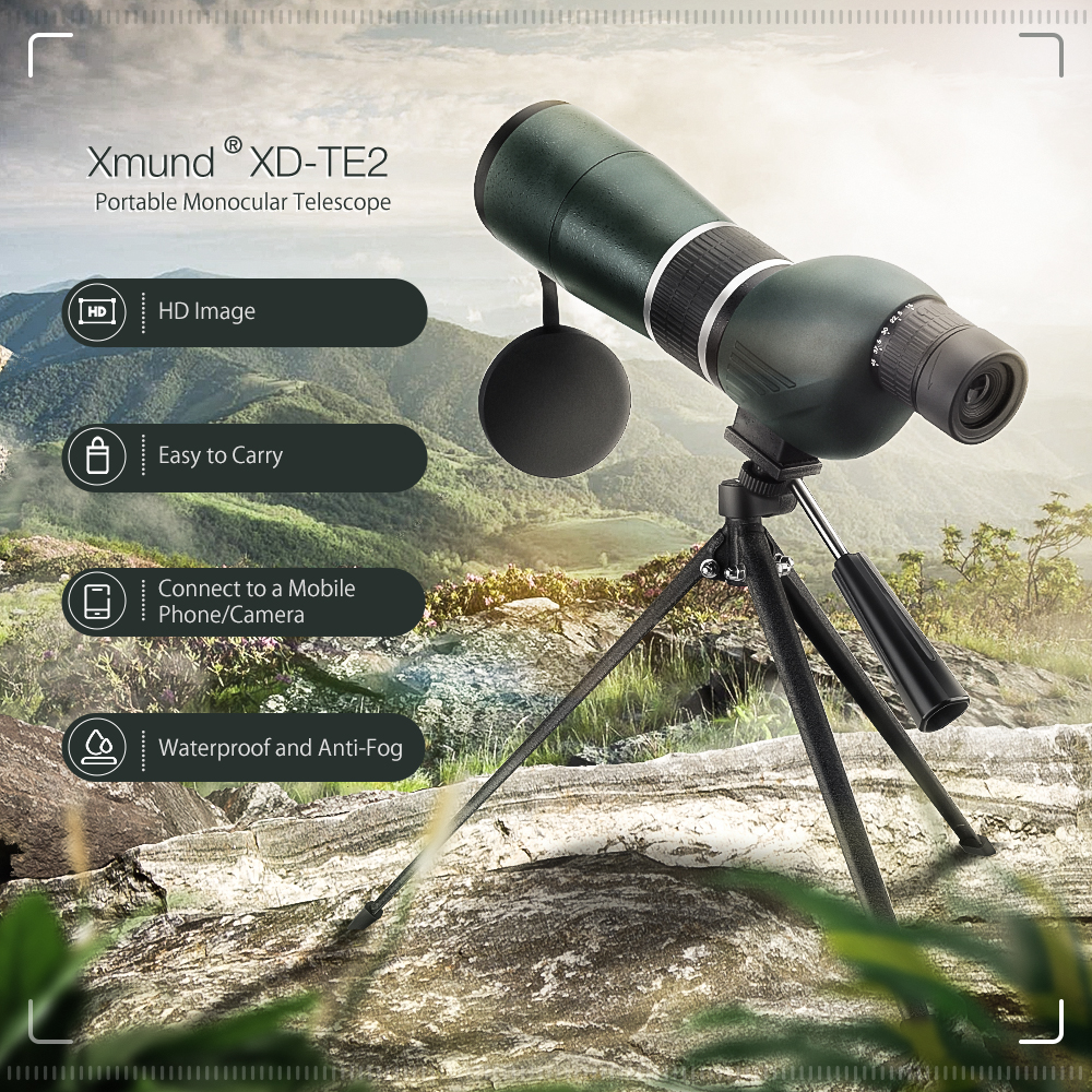 Xmund XD-TE2 15-45X60S Zoom Monocular HD BAK4 Optic Lens Bird Watching Telescope Camping Travel
