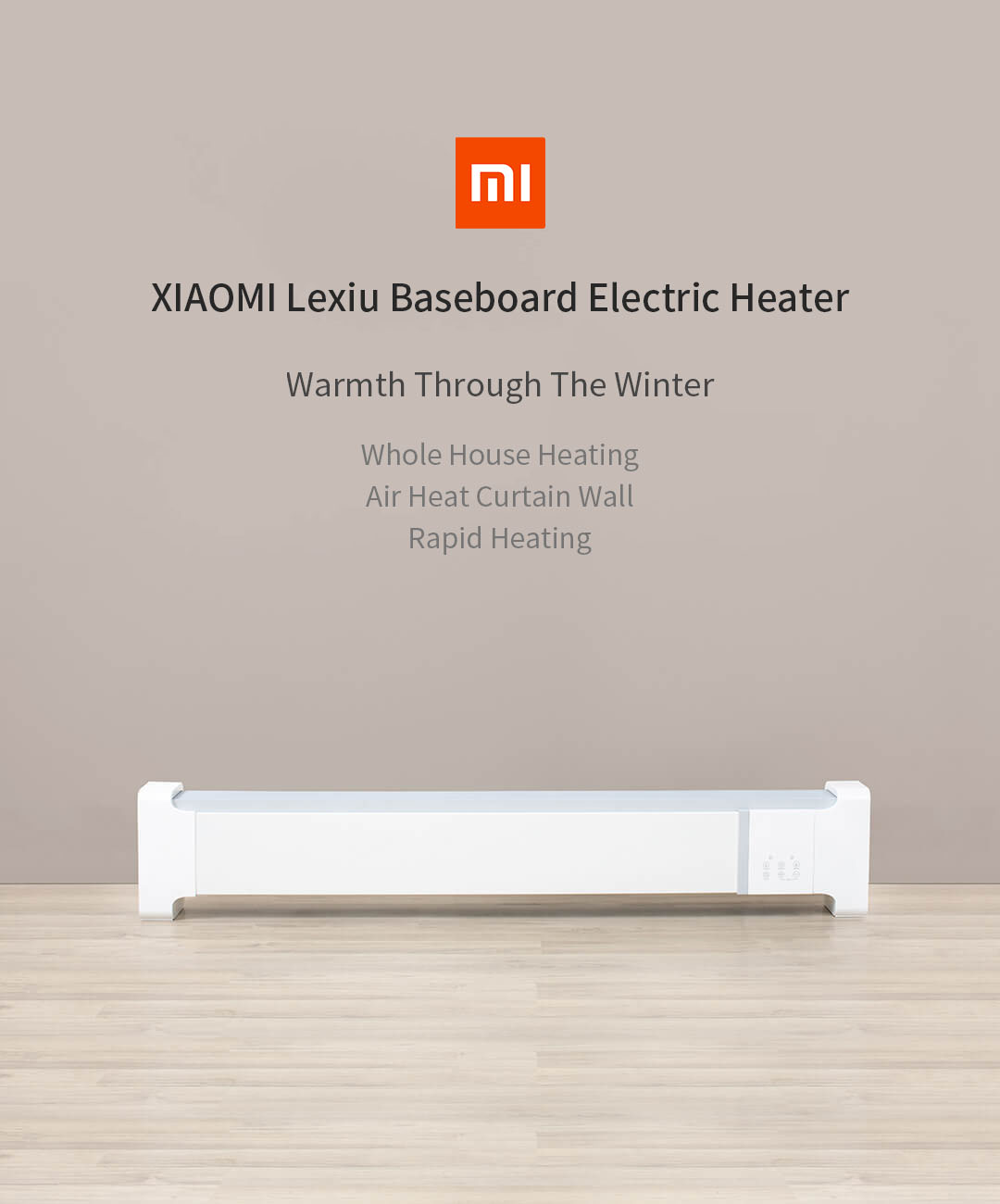 XIAOMI HS1 Lexiu Electric Heater Baseboard Electric Heater 5Sec Fast Heating Infrared Remote Control