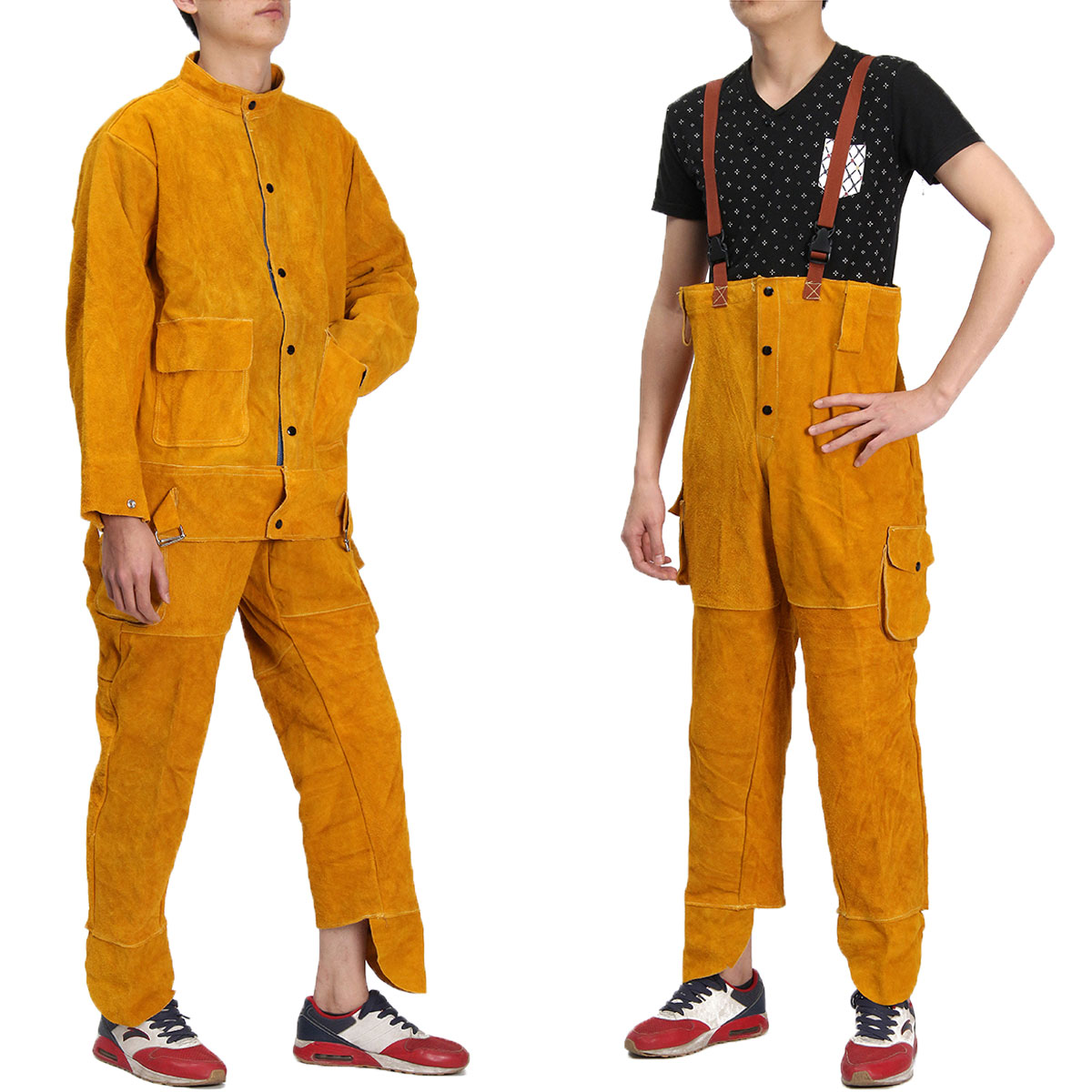 Leather Welding Strap Trousers & Coats Protective Clothing Apparel Suit