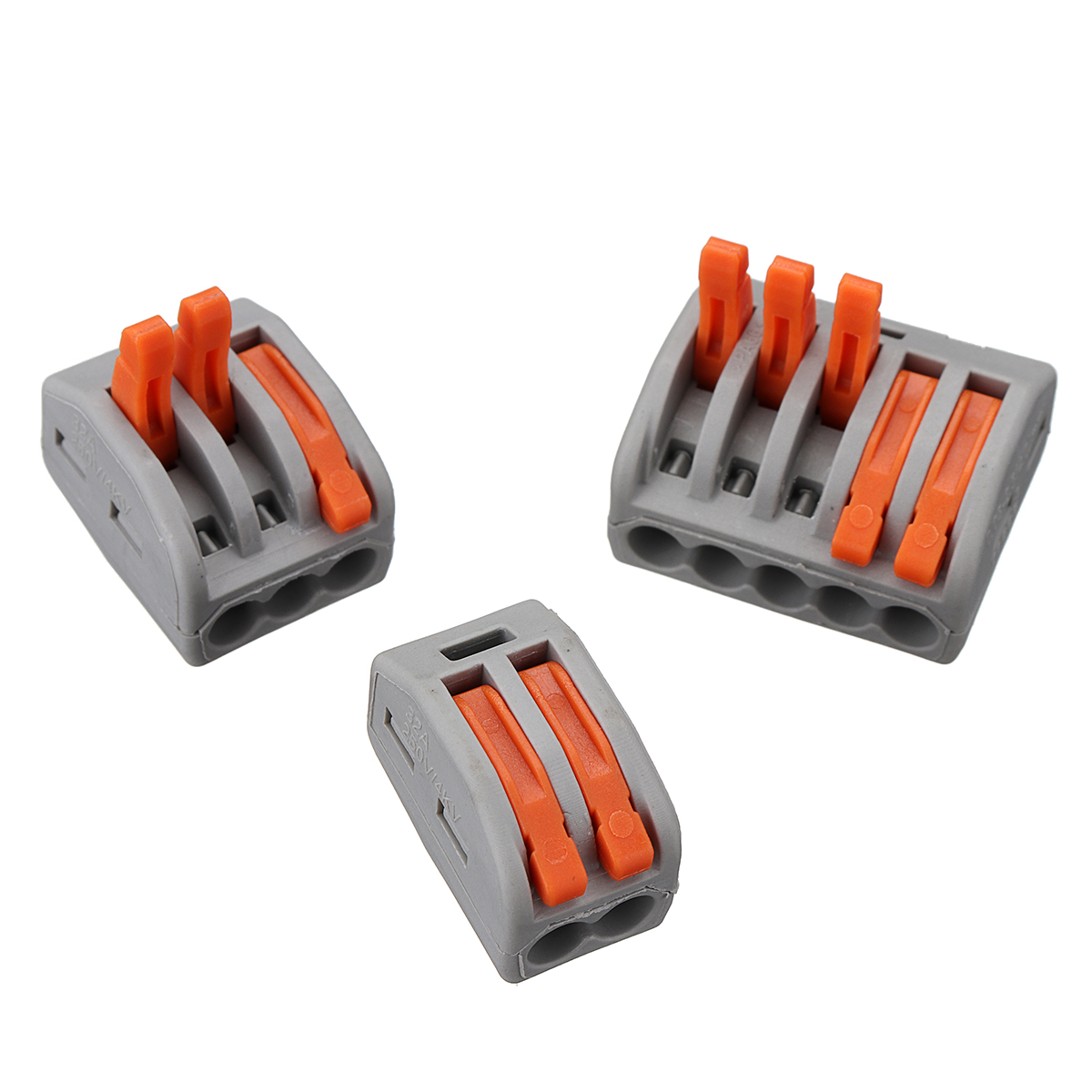 Excellway® 60Pcs 2/3/5 Holes Spring Conductor Terminal Block Electric Cable Wire Connector