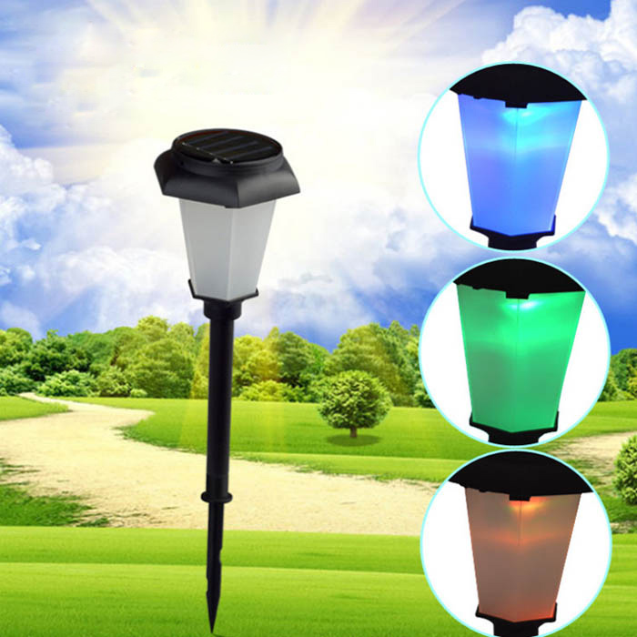Solar Power Colorful Changing LED Light Garden Lawn Path Stake Decoration Lamp