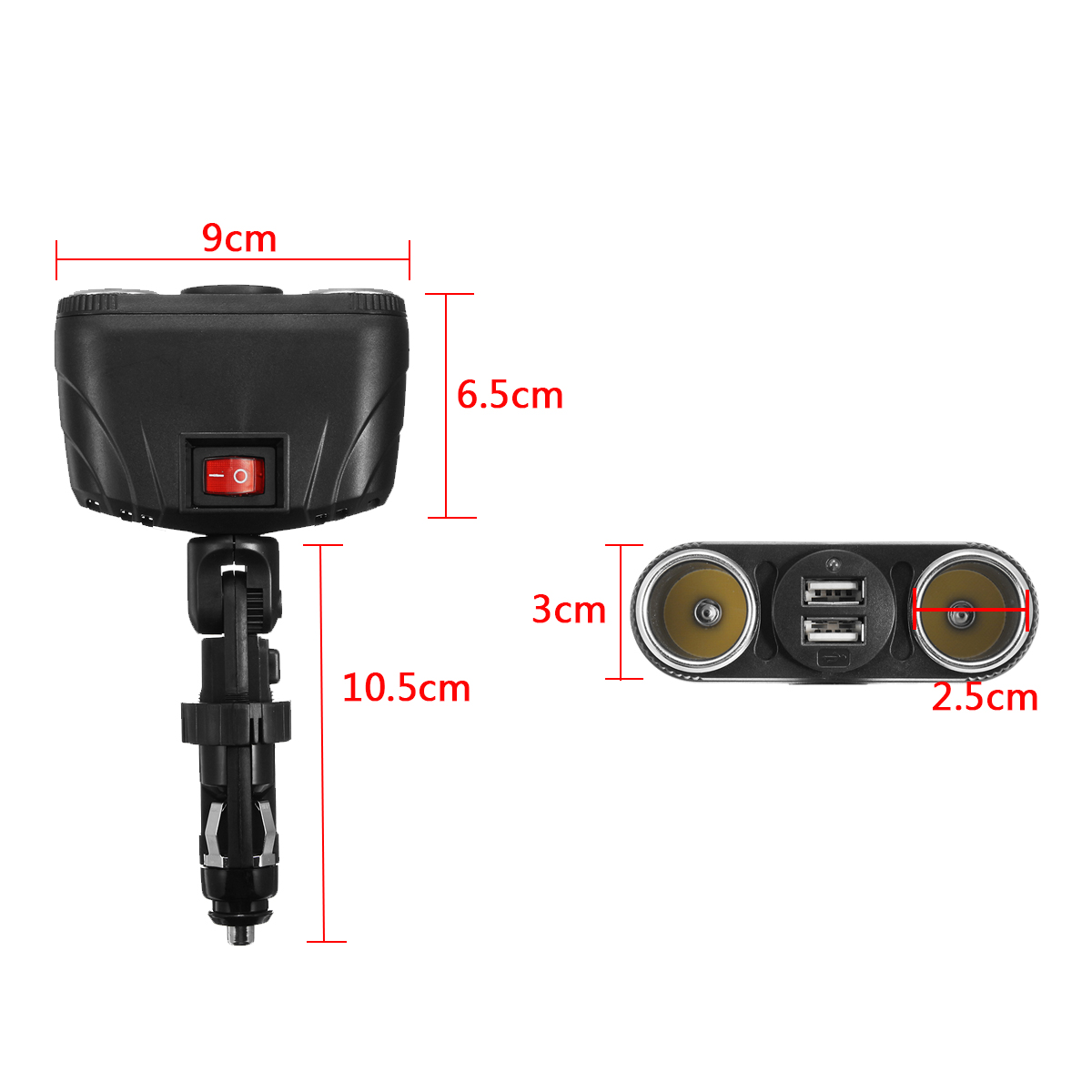 SD-1921 120W Dual USB Car Charger Car Cigarette Lighter Socket